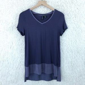 Mixed Media Tee Purple V Neck Cynthia Rowley